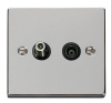 Click VPCH Polished Chrome Telephone and Television Sockets with Black Inserts