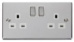 Click Ingot VPCH Polished Chrome 2, 5 and 13 Amp Sockets with White Surround