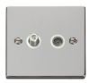 Click VPCH Polished Chrome Telephone and Television Sockets with White Inserts